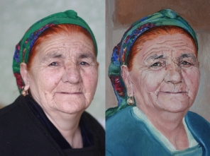 Aizerbaijan woman. Fragment. 90x70. oil on canvas. sold.